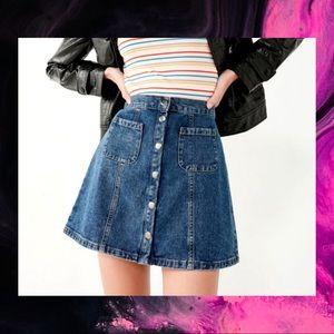 UO BDG Button Down Denim Skirt